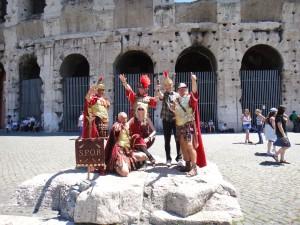 Posing outside the Colosseum