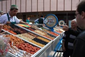 Vegetables on sale at a Kazakh market