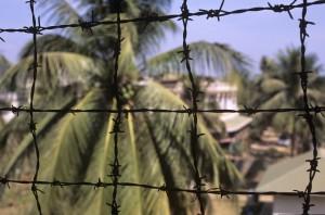 Tuol Sleng fence; pic Jack Barker