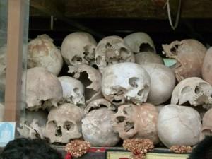 Display of skulls, Cambodia