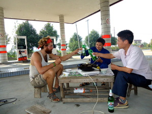 Beer for breakfast at a Hubei petrol station