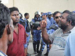 Riot police in Male, Maldives