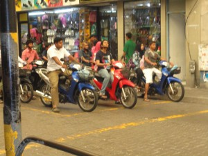Scooters at the ready in Male, Maldives