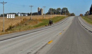 Amish cart on highway