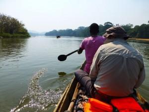 Canoeing along the Moa River, Sierra Leone