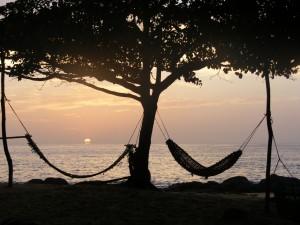 Hammocks on the beach, Sierra Leone