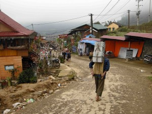 Brick carrier in Sapa Valley, Vietnam