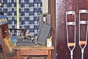 Flannery O'Connor's desk and crutches
