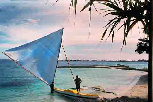 Outrigger on beach, Marshall Islands