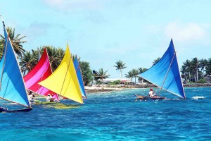 Outriggers racing on the Marshal Islands