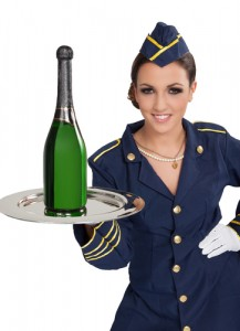 Air stewardess with champagne