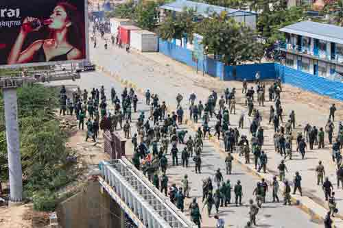 Protests in downtown Phom Penh