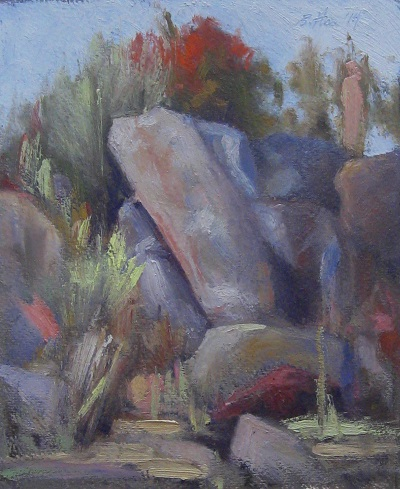 Michael Britton painting of Hampi rocks