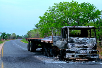 Burnt-out truck on Mozambique highway