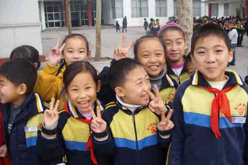 Grinning schoolchildren, China