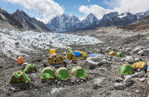 Campers at Everest Base Camp, Nepal