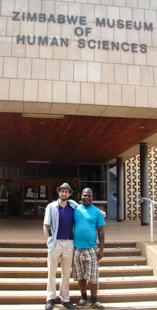 Benjamin Mack with guide, Zimbabwe
