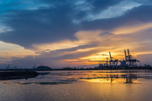 Djibouti port at sunset