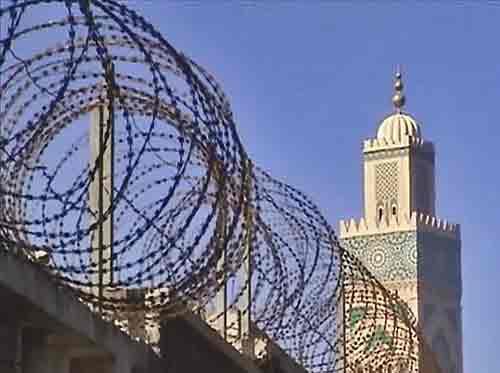 Barbed wire and minaret, Casablanca