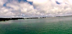 view from the boat of Los Tuneles, Galapagos
