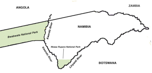 Namibia map, Caprivi strip region
