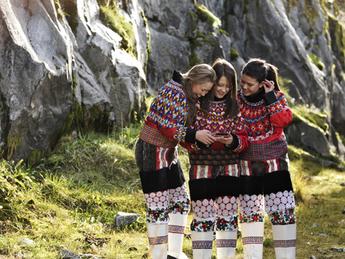 Greenland girls in traditional dress