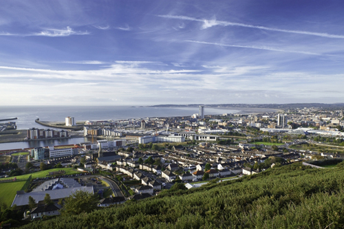 Swansea City from the air