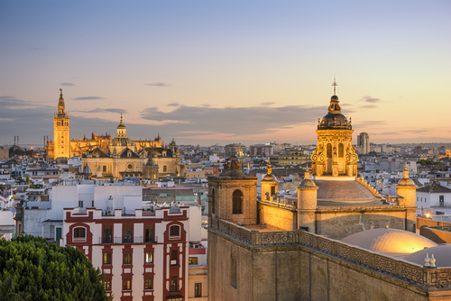 Seville skyline in the evening