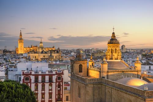 Seville skyline in the evening