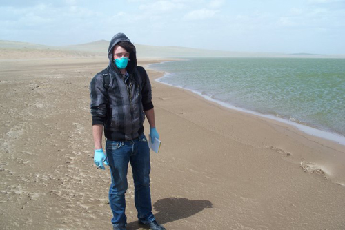 In mask in Mongolia