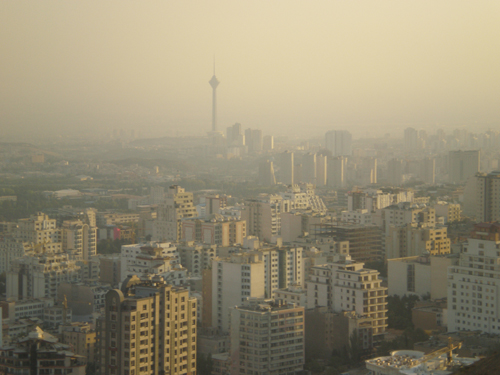 Polluted Tehran skyline