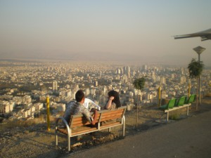 Couple overlooking Tehran