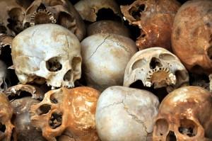Killing field skulls, Vietnam