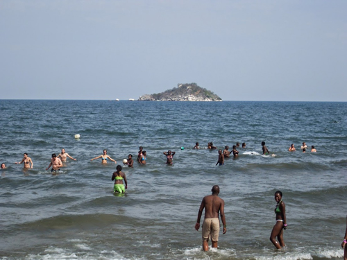 Fishermen bathing, Lake Malawi
