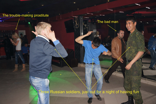 Russian soldiers, unaware