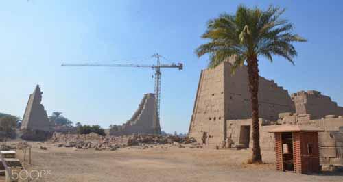 Crane over pyramids