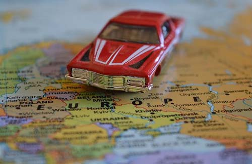 car on map of Europe
