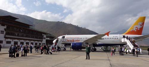 landing in Bhutan