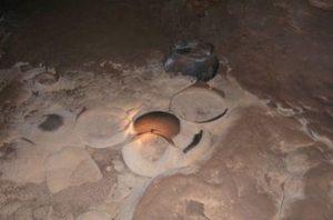 Mayan artefacts in Belize cave