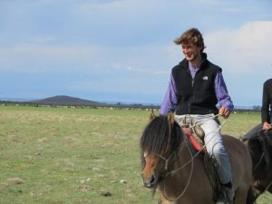 Charles on a Mongolian horse