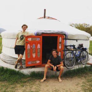 The author in a yurt doorway