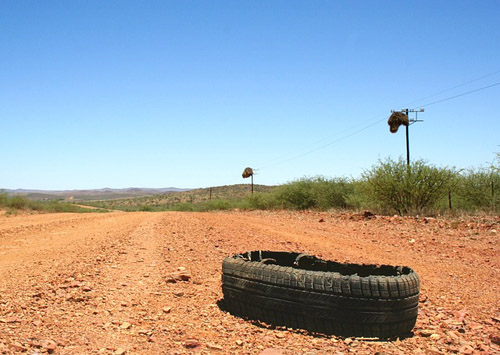 flat tyre in the Karoo