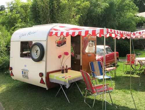 Period caravan in the sun