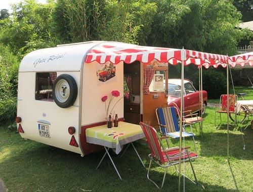 Period caravan in the sun