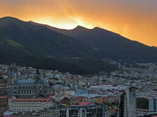 Sunset over Quito, Ecuador