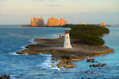 Bahamas lighthouse and hotel